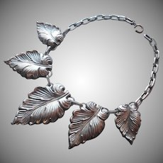 1930s Necklace Huge Leaves Silver Plated Vintage TLC Needed