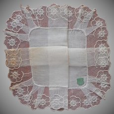 Vintage Hankie Lace Linen Unused Original Label