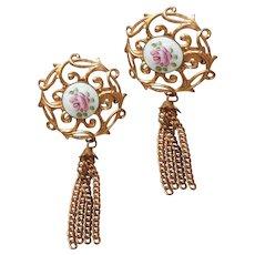 Pair Pins Enamel Pink Roses Tassels Faux Pearls Vintage A Bit TLC