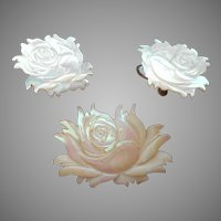 Carved Mother Of Pearl Vintage Roses Pin Earrings With Sterling Screw Backs