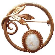 Krementz Faux Opal Glass Gold Filled Circle Pin Vintage