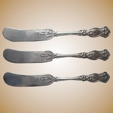 Orange Blossom 1910 Antique Silver Plated Individual Butter Knives Spreaders Ornate Floral