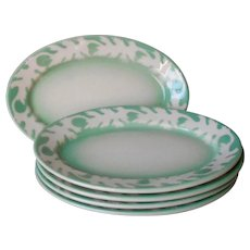Airbrush Restaurant China Oval Plates Syracuse China Green Leaves Airbrushed