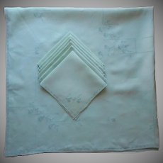 1920s Linen Set Tablecloth 6 Napkins Vintage Green Square Hand Embroidered