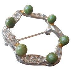 Sterling Jade Silver Rhinestone Rhodium Circle Pin Vintage