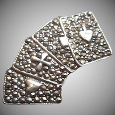 Marcasite Sterling Card Suits Pin Vintage Silver Playing Cards