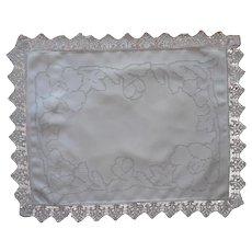 ca 1920 Boudoir Pillow Sham Linen Lace Mosaic Work Hand Embroidery Antique