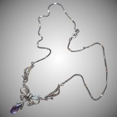 Marcasite Amethyst Sterling Silver Necklace Vintage Bow Drop