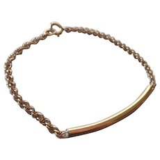 Gold Filled Bracelet Dainty Curved Tube Rope Twist Chain Vintage