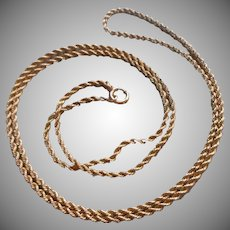 Antique Gold Filled Chain Necklace 30 inch Rope Twist