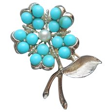 Sarah Coventry Pin Vintage Faux Turquoise Faux Pearl Flower