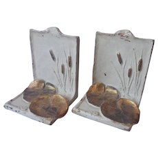 Bronze McClelland Barclay Bookends Cattails Water Lily Pads Antique