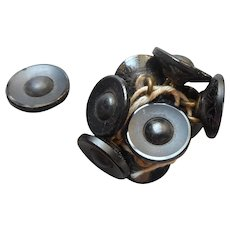 Victorian Buttons Black Glass  Matte Finish Polished Rims 9