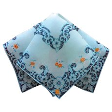 Hankie Unused Vintage Printed Linen Aqua Black Label Handkerchief