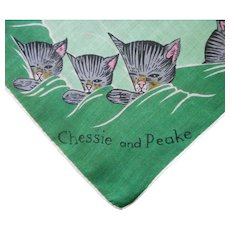 Railroad Hankie Handkerchief Unused Linen Print Chesapeake Chessie Peake