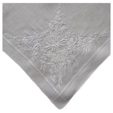 Exquisite Hand Embroidery Vintage Hankie Handkerchief Oversized Wedding Worthy