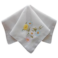 Vintage Hankie Hand Embroidered Swiss Daisies Pink Blue Yellow