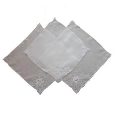 Madeira Cutwork Hand Embroidery Unusued Linen Set Hankies Hankie Handkerchief