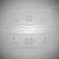 Bread Tray Doily Rectangular Crocheted Lace Antique Plus 1 As Is