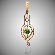 Lavaliere Pendant Antique Gold Plated Green Glass Stone Faux Pearl