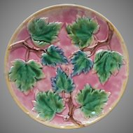Victorian Majolica Plate Antique Etruscan Pink Leaves Branches Great Color Condition