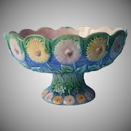 Victorian Majolica Compote Etruscan Antique Pedestal Bowl Daisy Sunflowers