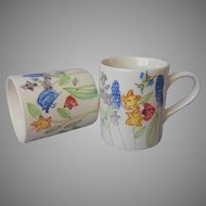 Royal Norfolk Pair Vintage Mugs Mug Flowers Butterfly Bee