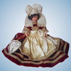 Le Minor Bretagne Pont Aven Vintage Doll Velvet Lace Satin Brittany