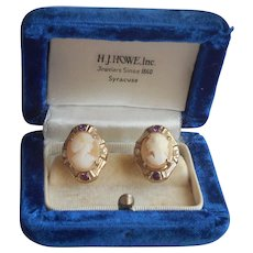 Cameo Earrings Carved Shell Purple Rhinestones Faux Pearls Vintage Screw Back