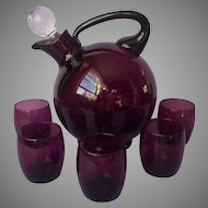 Cambridge Amethyst Glass Slanted Ball Decanter Glasses Vintage Purple