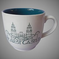 Hearst Castle Souvenir Mug Vintage White Teal Blue