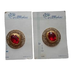 Vintage Buttons Red Plastic Jewels Filigree Large On Cards