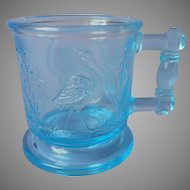 Peacock And Heron EAPG Child's Toy Cup Antique Blue Glass