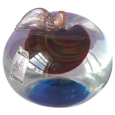 Venetian Castle Murano Vintage Glass Paperweight Cherry 1950s