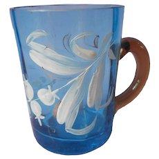 Antique Blown Glass Mug Cup Blue Amber Handle Enamel Flowers