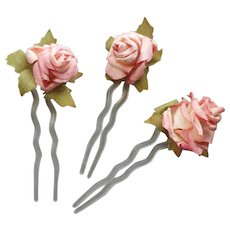Early 1990s Hair Pins Roses Paper Fabric France Plastic Ornaments