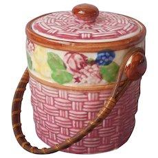 Biscuit Barrel Jar Small Hand Painted Japan Vintage Pottery TLC Rattan Handle