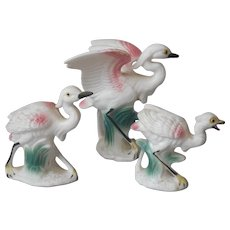 Tiny Egret Family Figurines Vintage Hand Painted Porcelain Pin White