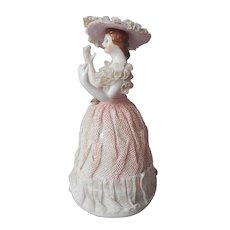 Dresden Lace Style 1950s Japan Figurine Lady Pink White Porcelain