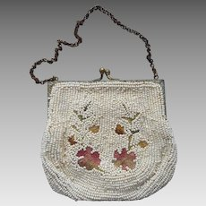 Dance Purse White Glass Beads Pink Embroidery TLC Needed