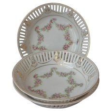 Pink Roses Reticulated China Berry Fruits Bowls 3 Vintage Bowl Bavarian
