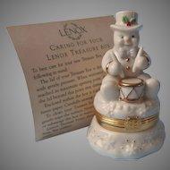 Lenox Treasure Box Drumming Up Surprises Snowman Treasures