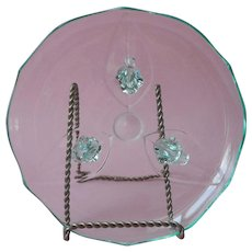 Aqua Green 1930s Lancaster Glass Landrum 3 Toed Dessert Serving Plate 8 Inch