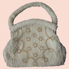 1950s Beaded Party Purse Creamy White Glass Faux Pearls Vintage