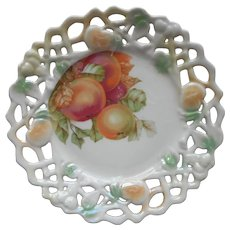 Antique Luster Plate Apples Pierced Reticulated Rim Germany Peach Green