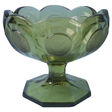Fostoria Coin Olive Green Candy Compote Glass Vintage