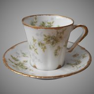 Theodore Haviland Limoges Demitasse Cup Saucer Antique Green Roses China