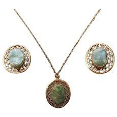 Jade Gold Filled 1960s Earrings Pendant Necklace Set Vintage Winart