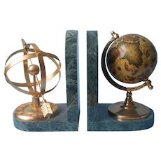 Bookends Green Marble Globe Armillary Vintage ca 1990 Book Ends