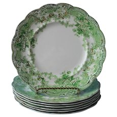 The Florentine Johnson Brothers 7 Luncheon Plates Antique Green Gold
